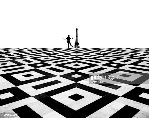 ballet dancer in abstract background - paris noir et blanc photos et images de collection