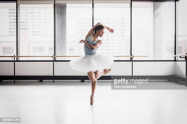 Ballet dancer in rehearsal studio