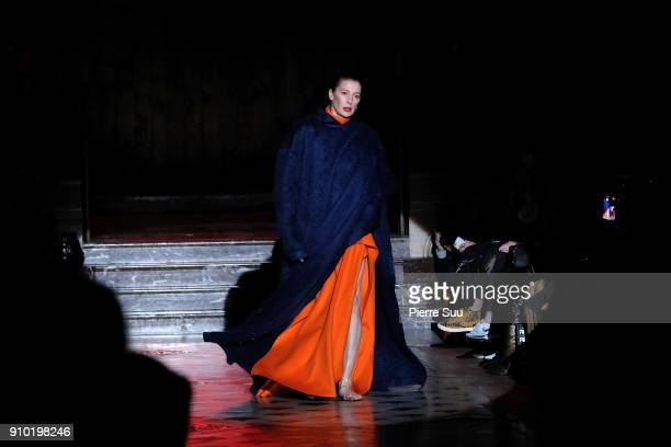 Ballet dancer MarieAgnes Gillot performs on the runway during the Maison Rabih Kayrouz Spring Summer 2018 show as part of Paris Fashion Week on...