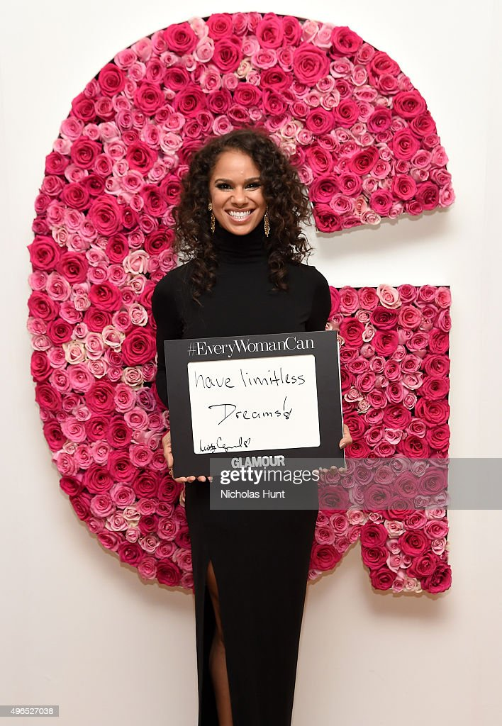 Ballet dancer Misty Copeland poses for a photo at the backstage inspiration wall at the 2015 Glamour Women of the Year Awards at Carnegie Hall on November 9, 2015 in New York City.