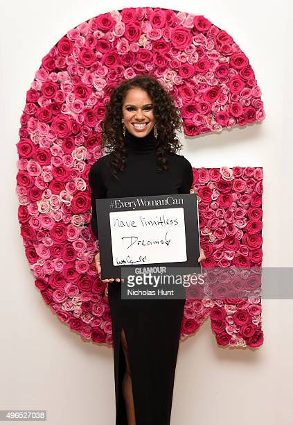 Ballet dancer Misty Copeland poses for a photo at the backstage inspiration wall at the 2015 Glamour Women of the Year Awards at Carnegie Hall on...