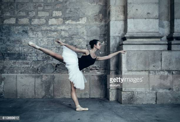 Ballet dancer performance in city streets
