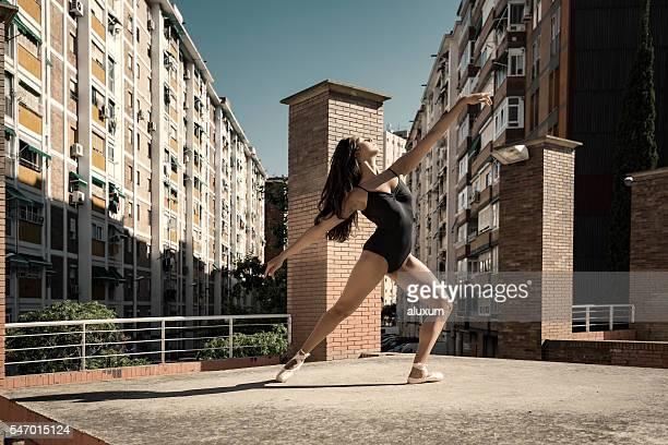 Ballet dancer performance in city suburbs