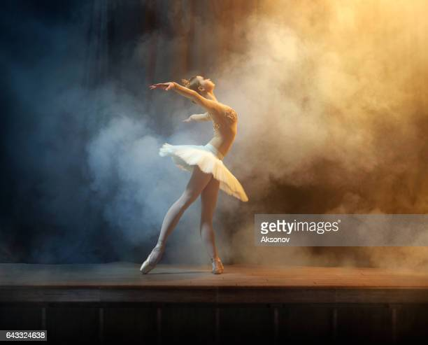 ballet dancer performing on stage in theate - ballet dancer stock pictures, royalty-free photos & images