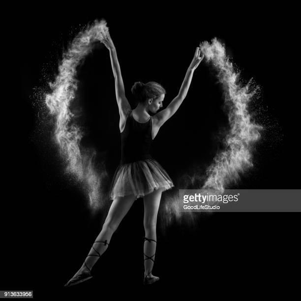ballet dancer - silhueta de corpo feminino preto e branco imagens e fotografias de stock