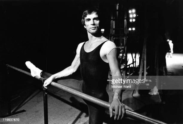 Ballet dancer Rudolf Nureyev at the barre during rehearsal of 'Romeo and Juliet' at the London Coliseum 1980