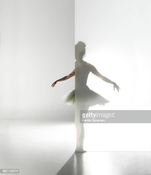 Ballet dancer standing behind a opaque screen