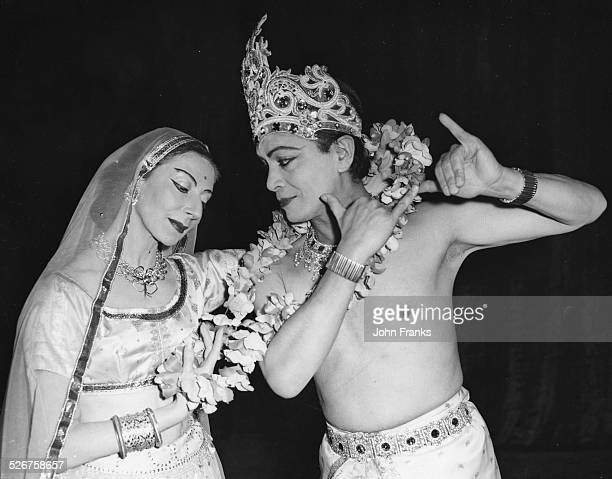 Ballet dancers Alicia Markova and Ram Gopal in costume, rehearsing their dance in 'Radha Krishna', at the Princes Theatre, London, March 6th 1960.