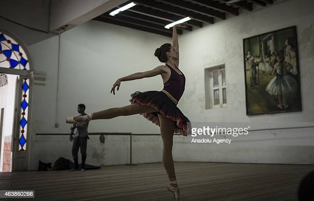 Ballet dancers Amaya Rodriguez Rodriguez and Jose Carlos Losada are seen on a training session at The Cuban National Ballet in Havana Cuba on...