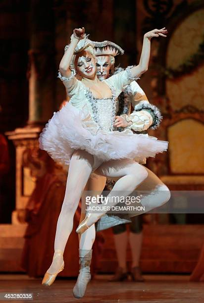 Ballet dancers Aubane Philbert and Daniel Stokes perform during the dress rehearsal of act III of ''the Sleeping Beauty'' on December 2 2013 at the...