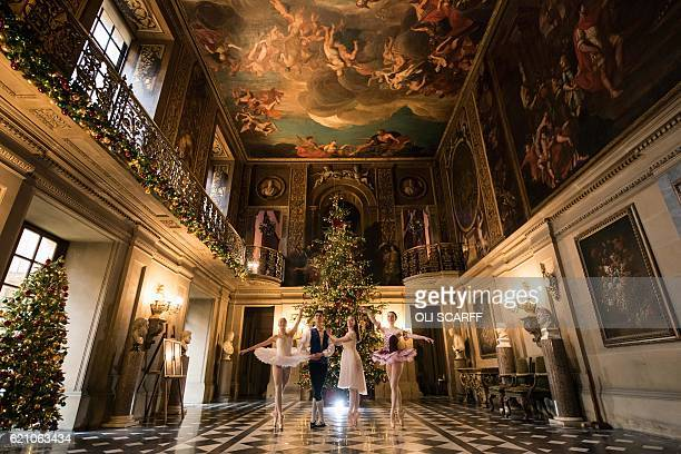 Ballet dancers Daisy Kerry Benjamin Jones Daisy Edwards and Alice Rathbone pose in the Painted Hall of Chatsworth House which is decorated for their...