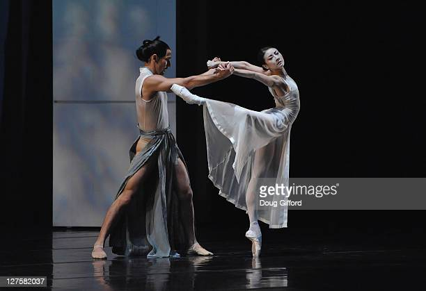 Ballet dancers Damian Smith and Yuan Yuan Tan perform in the Orange County Premiere of RakU with The San Francisco Ballet Performs of Trio RakU And...