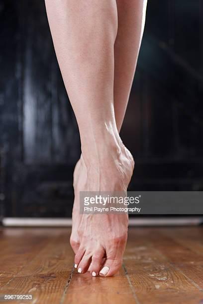 ballet dancer's feet - ballerina feet stock photos and pictures