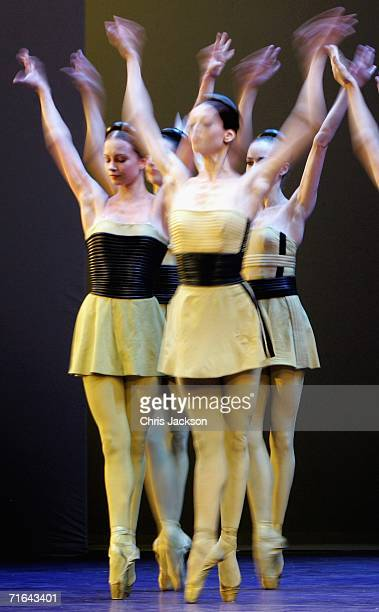 Ballet dancers from the Bolshoi Ballet perform a scene from Go for Broke at the Royal Opera House on August 14, 2006 in London, England.