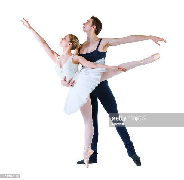 ballet dancers. isolated on white - duet stock pictures, royalty-free photos & images