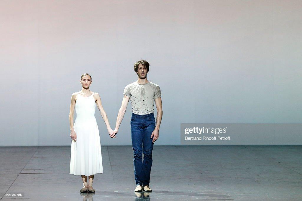 Ballet dancers Laetitia Pujol and Mathieu Ganio perform onstage at Le Chant De La Terre for AROP Charity Gala At Opera Garnier In Paris on March 4, 2015 in Paris, France.