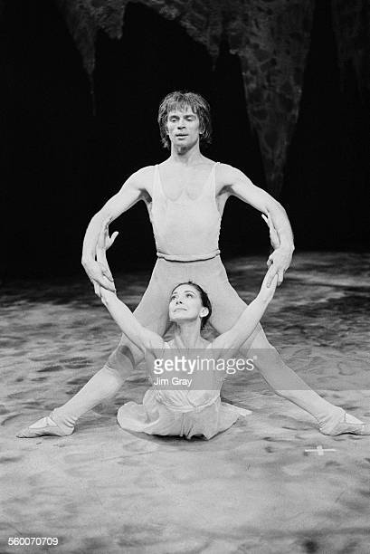Ballet dancers Margot Fonteyn and Rudolf Nureyev rehearsing for a Royal Ballet production of Roland Petit's 'Pelleas and Melisande' at the Royal...