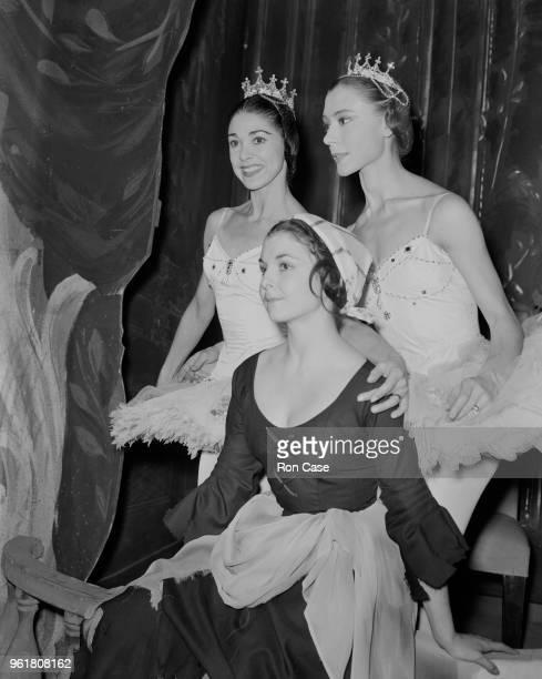 Ballet dancers Margot Fonteyn Svetlana Beriosova and Lynn Seymour at the Royal Opera House in Covent Garden London during rehearsals for the...