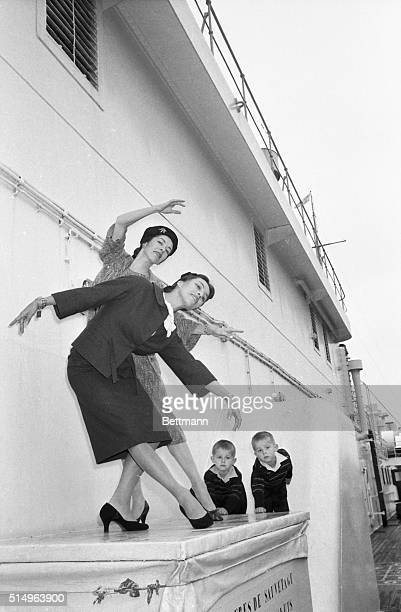 Ballet dancers Marjorie and Maria Tallchief perform a sister act upon their arrival in New York aboard the liner Liberte The sisters originally from...