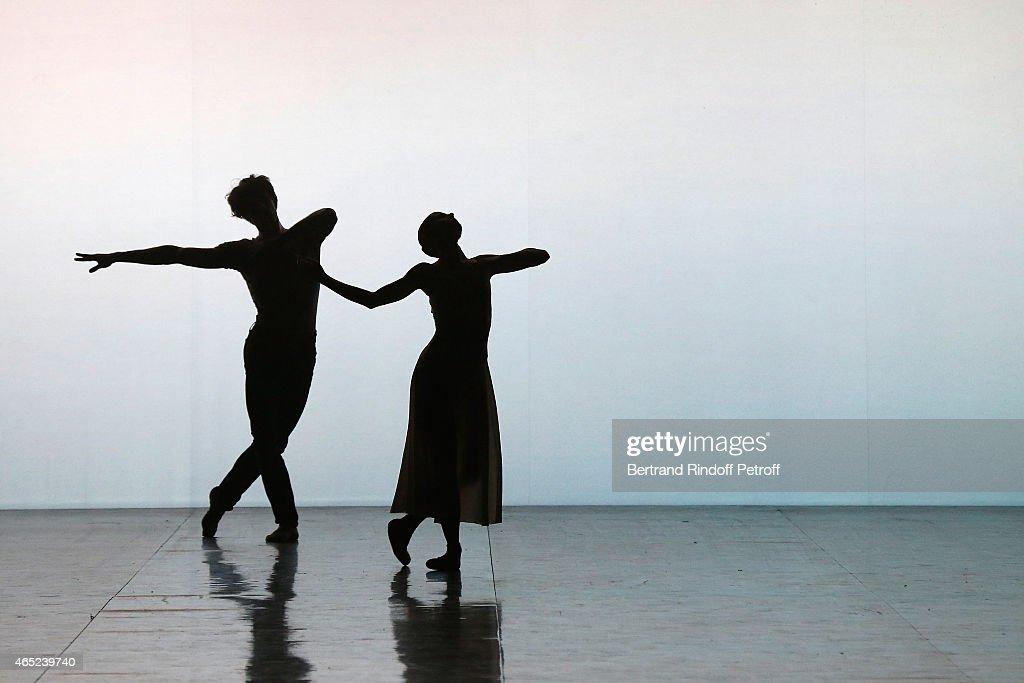 Ballet dancers Mathieu Ganio and Laetitia Pujol perform onstage at Le Chant De La Terre for AROP Charity Gala At Opera Garnier In Paris on March 4, 2015 in Paris, France.