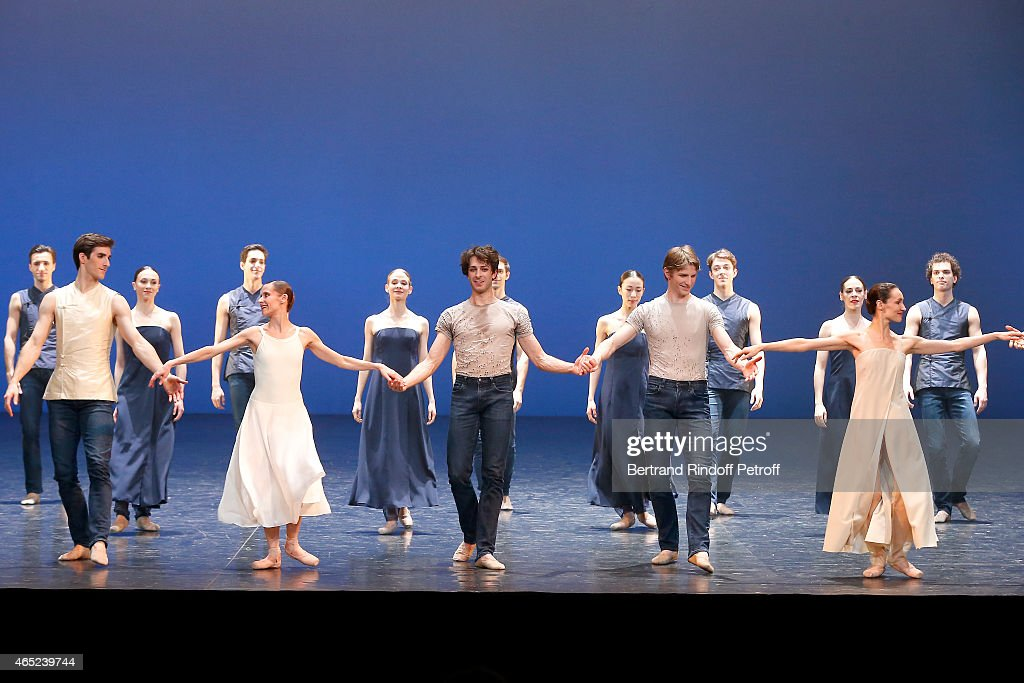 Ballet dancers Mathieu Ganio, Laetitia Pujol, Karl Paquette and Dorothee Gilbert on stage after performing Le Chant De La Terre for AROP Charity Gala At Opera Garnier In Paris on March 4, 2015 in Paris, France.