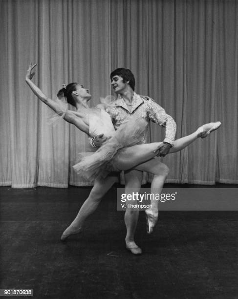 Ballet dancers Mikhail Baryshnikov and Alla Sizova of the Kirov Ballet rehearse the pas de deux from 'Coppelia' at the Royal Festival Hall in London...