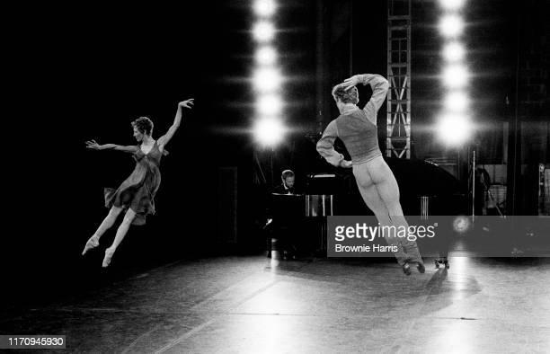 Ballet dancers Mikhail Baryshnikov and Natalia Makarova rehearsing the American Ballet Theatre's production 'Other Dances' at the Ed Sullivan Theatre...