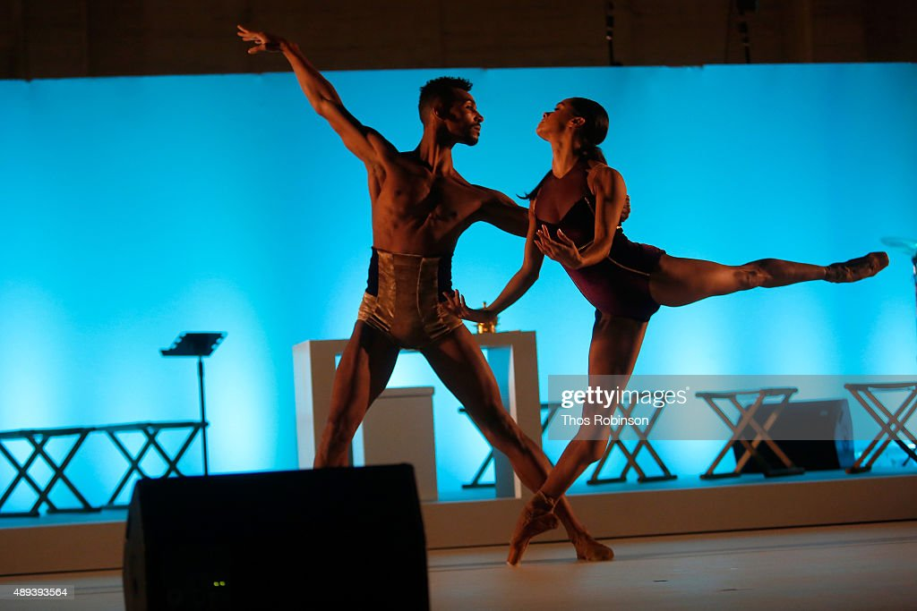 Ballet dancers Misty Copeland and Clifford Williams perform during Shinnyo Lantern Floating for Peace Ceremony at Lincoln Center for the Performing Arts on September 20, 2015 in New York City.