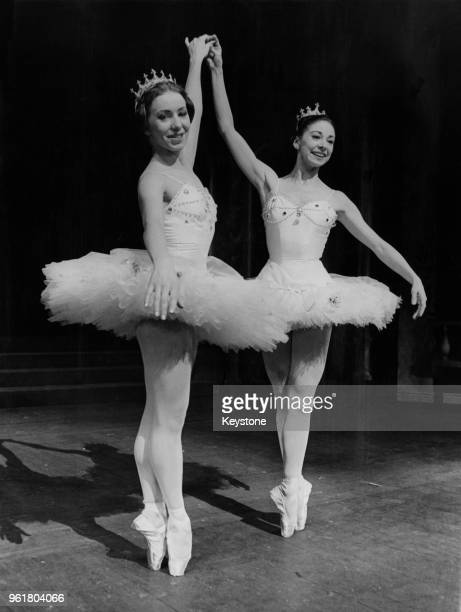 Ballet dancers Nadia Nerina and Margot Fonteyn during rehearsals for the Frederick Ashton ballet 'Cinderella' at the Royal Opera House in Covent...