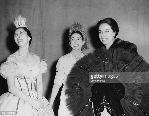 Ballet dancers Nina Vyroubova Margot Fonteyn and Maria Tallchief in costume during rehearsals for the Gala Matinee of Ballet at the Theatre Royal...