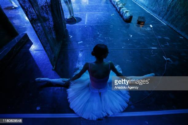 Ballet dancers of Ankara State Opera and Ballet perform during a rehearsal ahead of the premier of Tchaikovsky's Swan Lake Ballet in Ankara Turkey on...