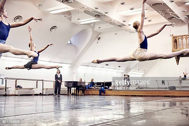 Ballet dancers of The Bolshoi Ballet company during rehearsal are photographed for the Times on February 4 2016 in London England