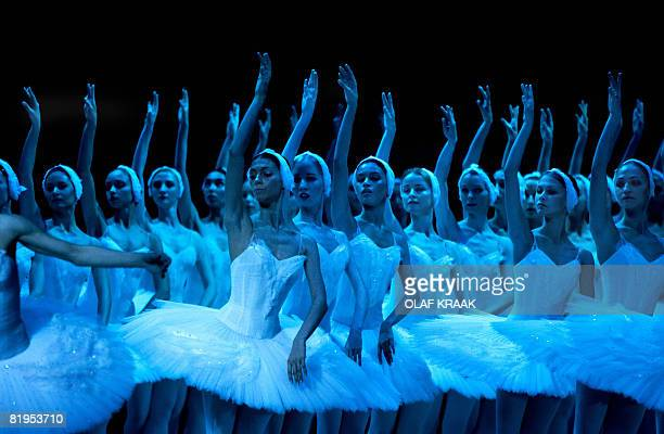 Ballet dancers of the Bolshoi Ballet Theatre perform the 'Swan Lake' by Peter Tchaikovsky at the Carre Theater in Amsterdam on July 16 2008 The...