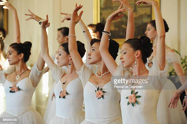 Ballet dancers perform during the Montblanc White Nights Festival Reception and Gala Dinner at the Mikhailovsky Palace on June 25 2009 in St...