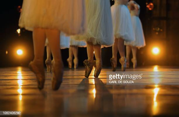 TOPSHOT Ballet dancers rehearse before the opening night of a Ballet production at the Municipal Theatre in Rio de Janeiro Brazil on June 20 2018 In...