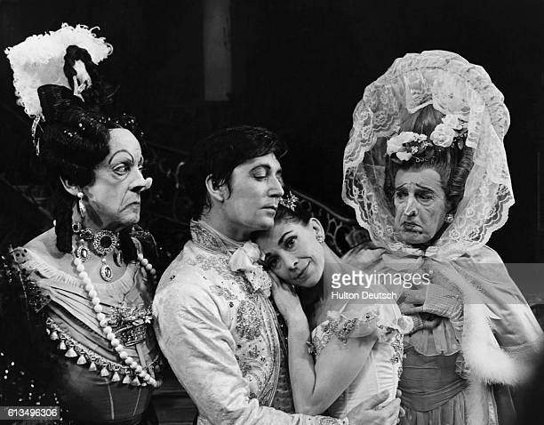 Ballet dancers Robert Helpmann and Sir Fredrick Ashton as the Ugly Sisters with David Blair as Prince Charming and Margot Fonteyn as Cinderella in...