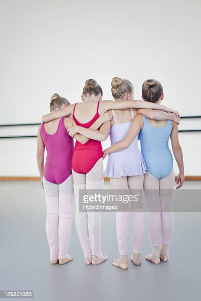 ballet dancers standing together - little girls leotards stock photos and pictures