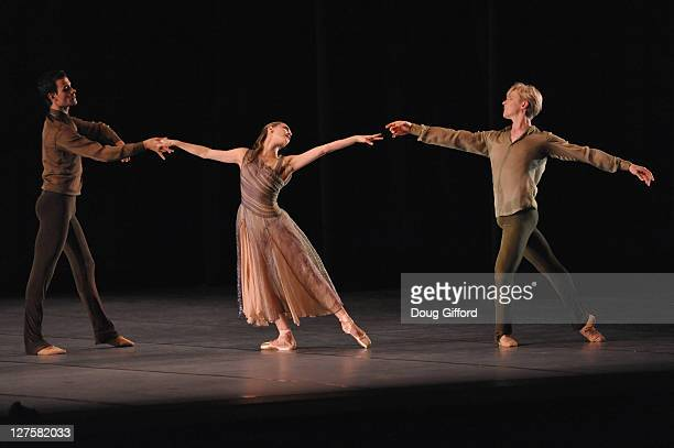 Ballet dancers Vito Mazzeo Sarah Van Patten and Tiit Helimets perform in the 2nd movement of Trio with The San Francisco Ballet Performs of Trio RakU...