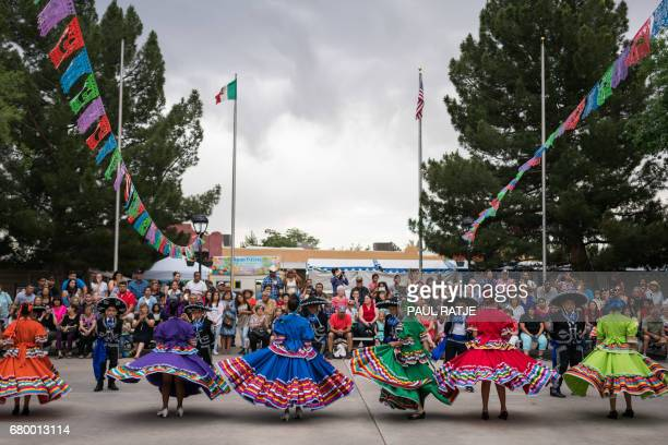 Ballet Folklorico dancers from East Picacho Elementary School perform during the Cinco De Mayo Fiesta on the plaza of Mesilla New Mexico May 06 2017...