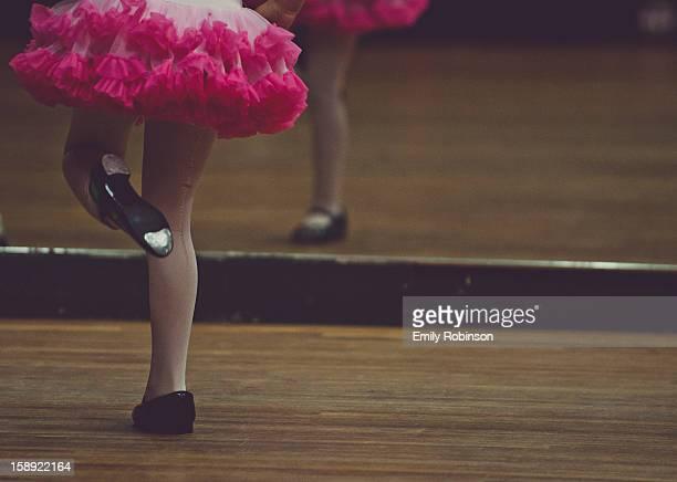 Ballet girl wearing tap shoes