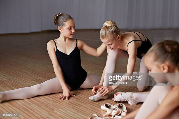 ballet girls streching, preparing for training - girl with legs spread stock photos and pictures