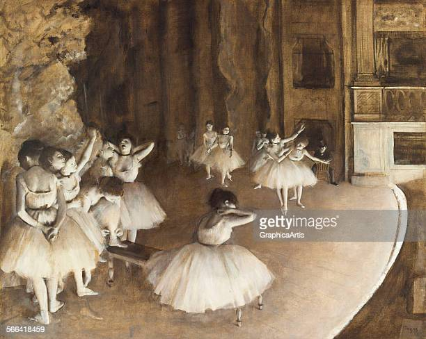 Ballet Rehearsal on Stage by Edgar Degas oil on canvas 1874 From the collection of the Musee d'Orsay Paris