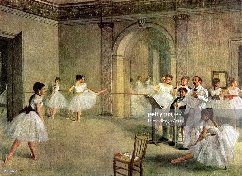 Ballet Rehearsal on the Set (1874) by Edgar Degas (19 July 1834 - 27 September 1917), French artist famous for his work in painting, sculpture, printmaking and drawing. He is regarded as one of the founders of Impressionism although he rejected the term. : News Photo