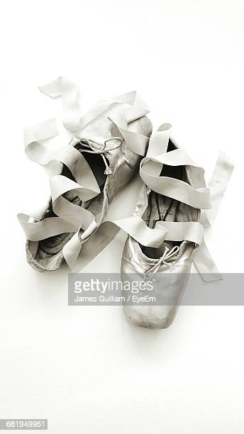 Ballet Shoes Against White Background