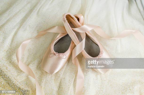 Ballet shoes and white ballet tutu