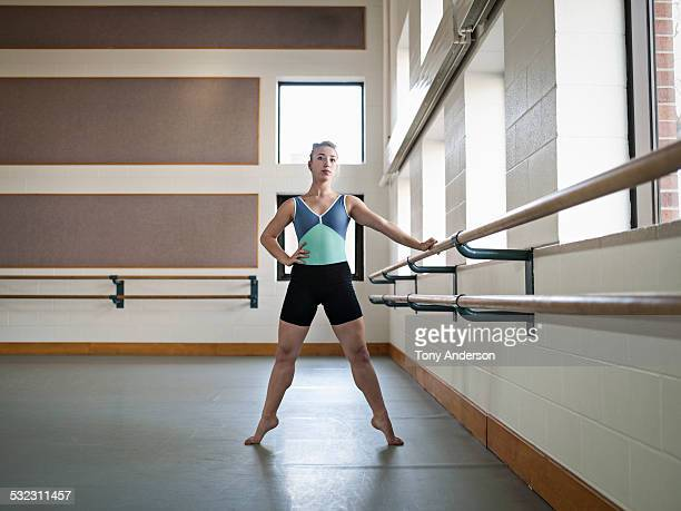Ballet student working at barre