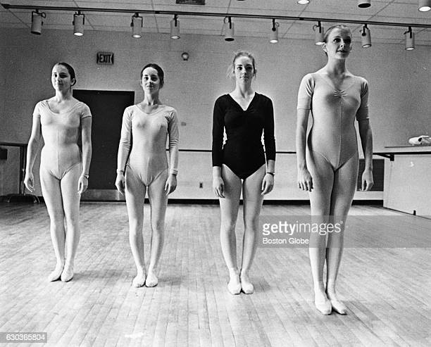 Ballet students at Walnut Hill School in Natick Mass pose to show how incorrect training can produce bow legs on Dec 10 1976 Jenny Magowan and Sally...