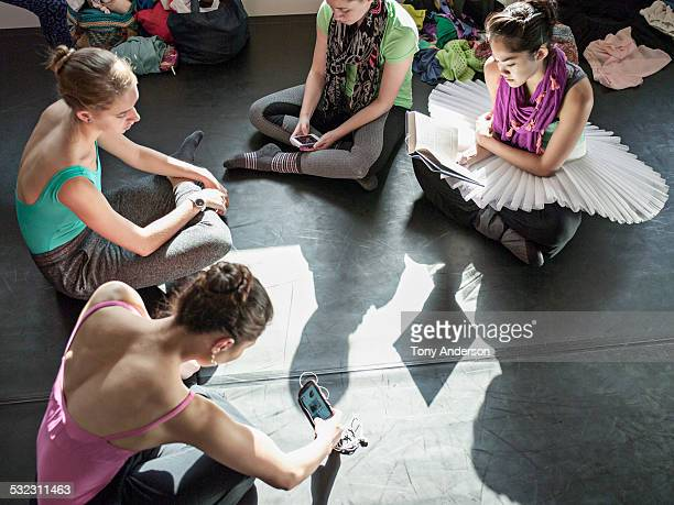 Ballet students relaxing before classes