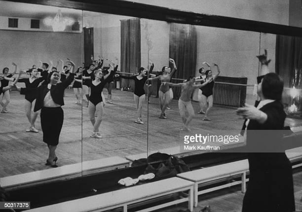 Ballet teacher Marina Semyonova teaching a class to the Bolshoi Ballet company