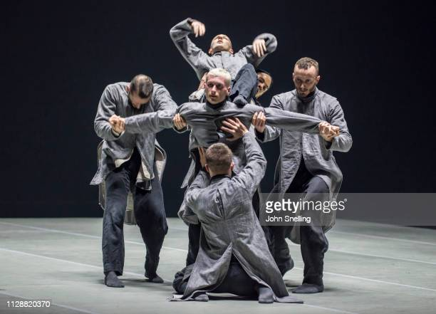 BalletBoyz perform on stage a production of THEM/US with choregraphy by Christopher Wheldon> at Sadler's Wells Theatre on March 5 2019 in London...